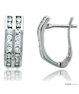 Sterling Silver Jeweled Huggie Earrings, w/ Cubic Zirconia stones, 5/8 (16  - £44.05 GBP