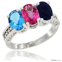 An item in the Jewelry & Watches category: Size 8.5 - 14K White Gold Natural Swiss Blue Topaz, Pink Topaz & Lapis Ring