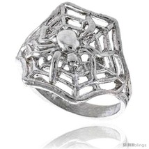 Size 6 - Sterling Silver Spider with Spiderweb Ring Polished finish 5/8 in  - $25.48