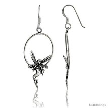 Sterling Silver Fairy on Wreath Dangle Earrings, 1 6/16in  (35 mm)  - $21.02