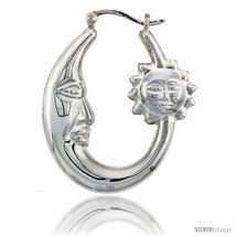 Sterling Silver High Polished Large Sun and Moon  - $75.49