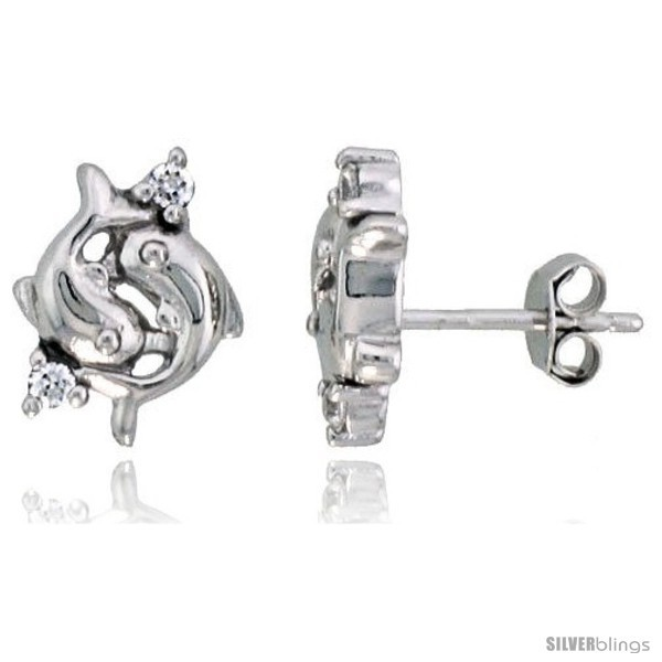 Primary image for Sterling Silver Jeweled Dolphin Post Earrings, w/ Cubic Zirconia stones, 7/16in