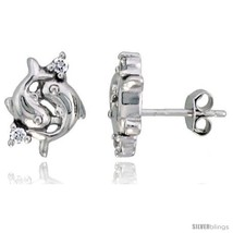 Sterling Silver Jeweled Dolphin Post Earrings, w/ Cubic Zirconia stones,... - $30.60