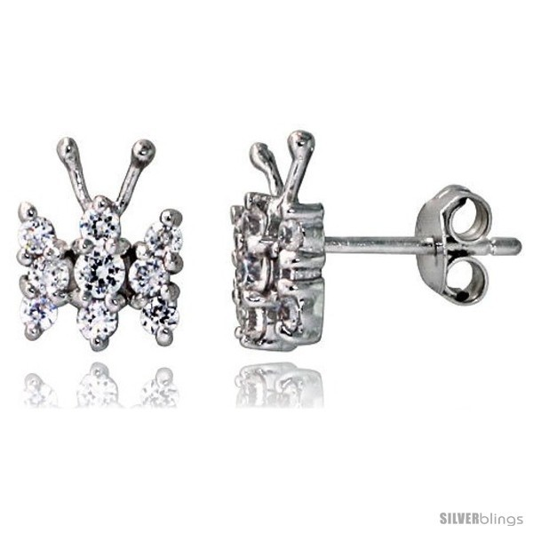 Primary image for Sterling Silver Jeweled Butterfly Post Earrings, w/ Cubic Zirconia stones, 3/8in