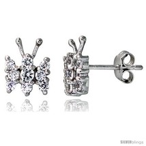 Sterling Silver Jeweled Butterfly Post Earrings, w/ Cubic Zirconia stone... - $19.67