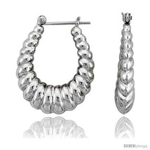 Sterling Silver High Polished Classic Hoop Earrings, 1 3/16in   - $1.007,32 MXN