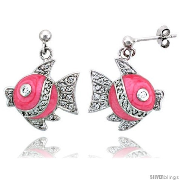 Primary image for Sterling Silver Jeweled Fish Post Earrings, w/ Pink Enamel & Cubic Zirconia, 1