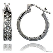 Sterling Silver Hoop Earrings Pave Set CZ, 3/4 in. 20  - $999,63 MXN