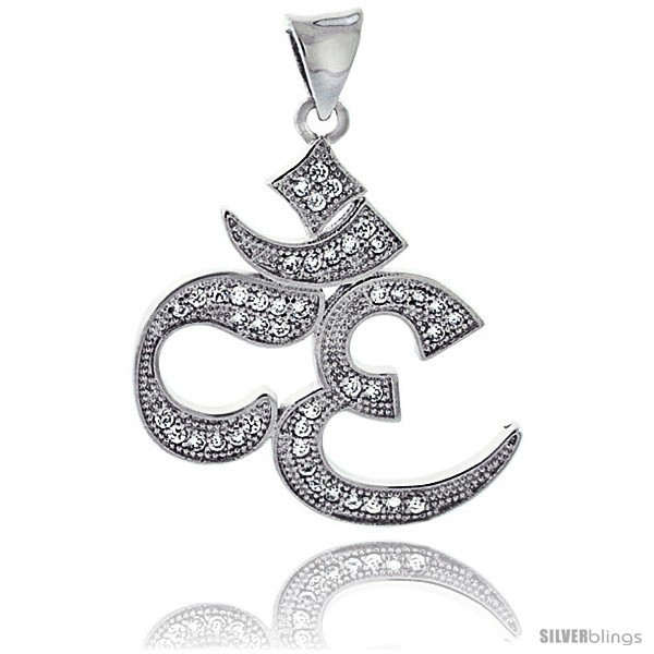 Sterling Silver Cubic Zirconia OM Omkar Pendant Micro Pave 1