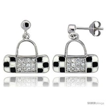 Sterling Silver 5/8in  (16 mm) tall Purse Dangle Earrings, Rhodium Plated w/ CZ  - $64.89