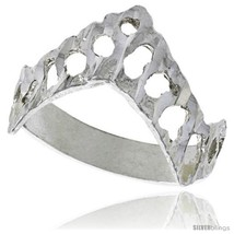 Size 7.5 - Sterling Silver V-shaped Freeform Ring Polished finish 5/8 in  - $16.66
