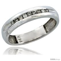 Size 11 - 14k White Gold Men's Diamond Ring Band w/ 0.16 Carat Brilliant... - $506.55