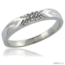 Size 12.5 - 14k White Gold Men's Diamond Ring Band w/ 0.06 Carat Brillia... - $353.26