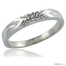 Size 10.5 - 14k White Gold Men's Diamond Ring Band w/ 0.06 Carat Brillia... - $353.26