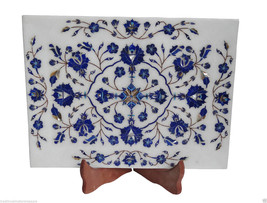 """9""""x12"""" White Marble Tray Plate Lapis Marquetry Floral Inlay Work Kitchen Decor - $258.87"""