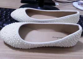 ivory wedding flats pearl ballet flats bride shoes handmade custom prom ... - $95.00