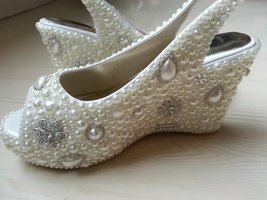 Wedge Wedding Shoes Slingback open toe Slippers Bridal Wedge Ivory Shoes Glitter - $135.00