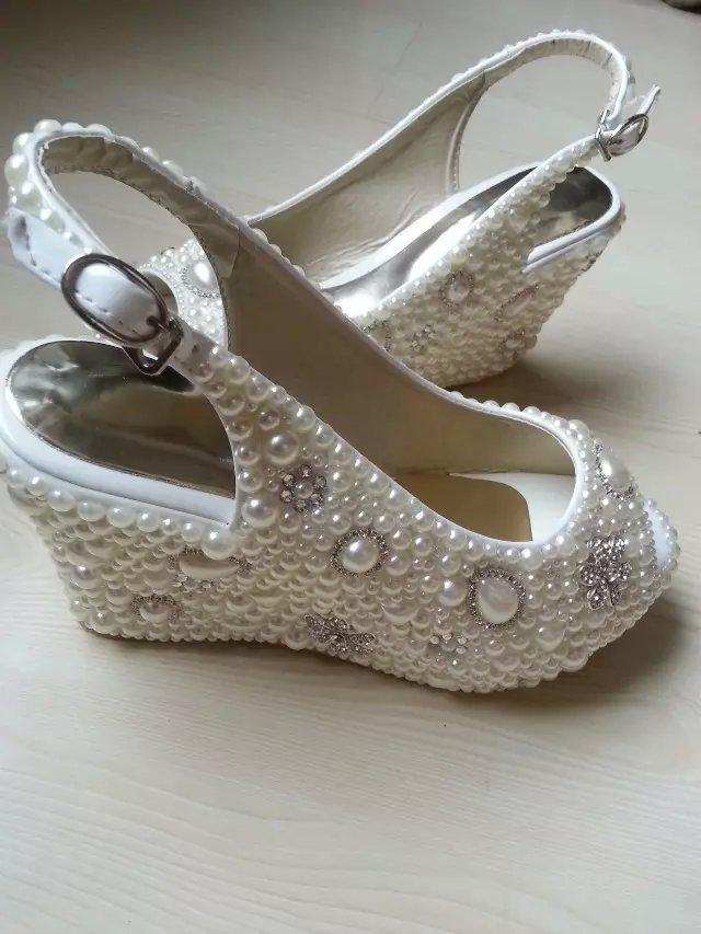 Wedge Wedding Shoes Slingback open toe Slippers Bridal Wedge Ivory Shoes Glitter image 2