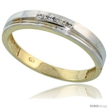 Size 9.5 - Gold Plated Sterling Silver Mens Diamond Wedding Band, 5/32 in  - $74.46