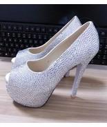 Luxury Wedding Shoes High Platform Heels Clean Crystal 5.5 inch Peep Toe... - $2.380,27 MXN