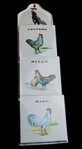 Vintage Made in Japan Metal Tin Letter Holder Organizer Rooster Chickens - $25.69
