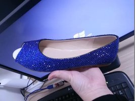 royabl blue wedding shoes peep toe bridal ballet flats wedding swarovski shoes - $95.00