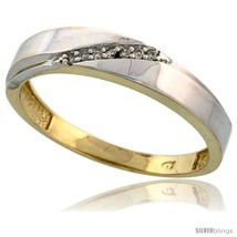 Size 11.5 - Gold Plated Sterling Silver Mens Diamond Wedding Band, 3/16 in wide  - $74.46