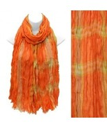 Multi Color Orange Plaid Design Scarf with Fray... - $17.81