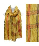 Multi Color Yellow Plaid Design Scarf with Fray... - $17.81