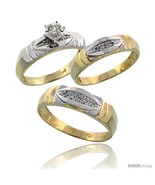 Size 6.5 - Gold Plated Sterling Silver Diamond Trio Wedding Ring Set His... - £112.44 GBP