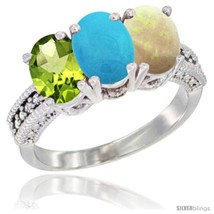 Size 9.5 - 10K White Gold Natural Peridot, Turquoise & Opal Ring 3-Stone... - $400.65