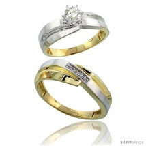 Size 5.5 - Gold Plated Sterling Silver 2-Piece Diamond Wedding Engagemen... - $148.91