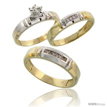 Size 7 - Gold Plated Sterling Silver Diamond Trio Wedding Ring Set His 5... - $168.67