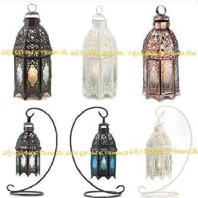 Primary image for Moroccan CANDLE LANTERN Lattice Copper Wht Blk HANGING Or TABLETOP Choose From 6