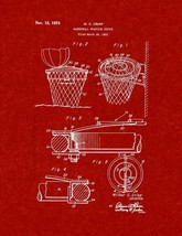 Basketball Practice Device Patent Print - Burgundy Red - $7.95+