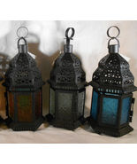 Moroccan Style CANDLE LANTERN Iron & Glass LANTERNS Uses Tealights or Vo... - $12.00