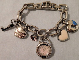 Watch FOSSIL Pink Heart Charm Watch ES1920 5 Charms Link Band NIB No Tag (A) - $49.99