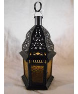 Moroccan Style CANDLE LANTERN Yellow Glass Uses Tealights or Votives (#3... - $16.00