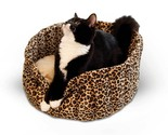 "K&H Pet Products Lazy Cup Cat Bed Small Leopard 16"" x 16"" x 7"" KH9121"