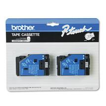 2 Brother P-Touch TC Tape Cartridges Black/White TC20 - $34.43