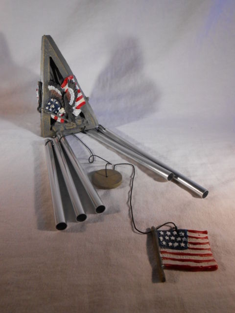 Primary image for PATRIOTIC EAGLE WINDCHIME American Flag USA Red White Blue WIND CHIMES (#33878)