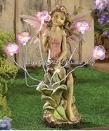 PEONY FAIRY Solar Powered Statue Flowers Light Up GARDEN Decor Spring (#... - $60.00