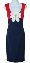 Class Roberto Cavalli Navy Blue White Bow Flower Woman's Dress Size 42 / 8 - $617.81 CAD