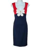 Class Roberto Cavalli Navy Blue White Bow Flower Woman's Dress Size 42 / 8 - $494.03
