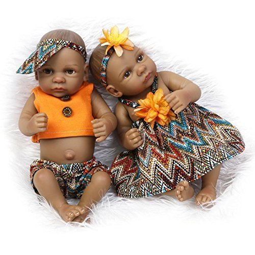 "Mini Black Doll Couple 11"" Boy and Girl Lifelike Reborn Baby Twins Kids Bath Toy for sale  USA"