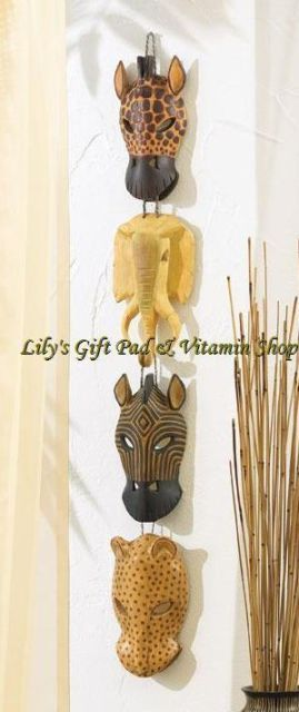 Primary image for SAFARI African Animal Mask Wall Plaque ZEBRA GIRAFFE ELEPHANT LEOPARD