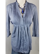Forever 21 XXI BLUE TIE PEASANT TUNIC LONG LOOSE PLEATED WOMENS TOP S SMALL X6 - $16.82
