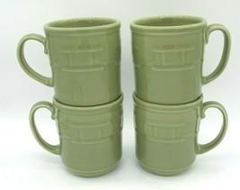 Longaberger Pottery Woven Traditions Mug Set 4 Sage Green Coffee Cup USA Ceramic - $79.19