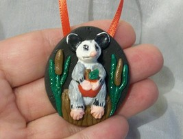 POSSUM CATTAILS ORNAMENT polymer clay small ani... - $6.76