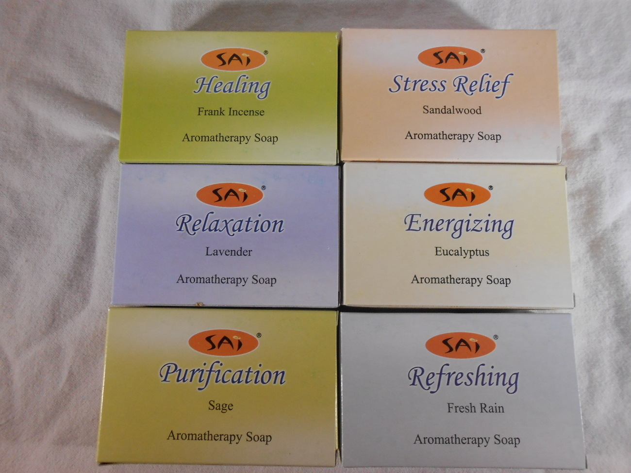 Primary image for Sai AROMATHERAPY SOAP 6 Different Scents SANDALWOOD Lavender RAIN Sage (#35341)
